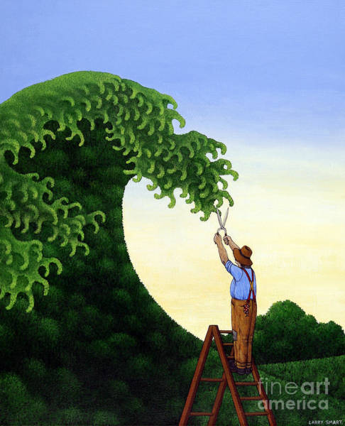 Trimming Painting - Topiary Wave by Larry Smart