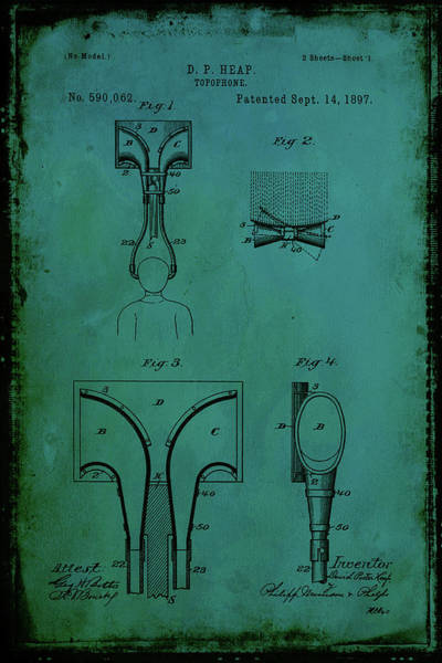 Trumpet Mixed Media - Topophone Patent Drawing 1d by Brian Reaves
