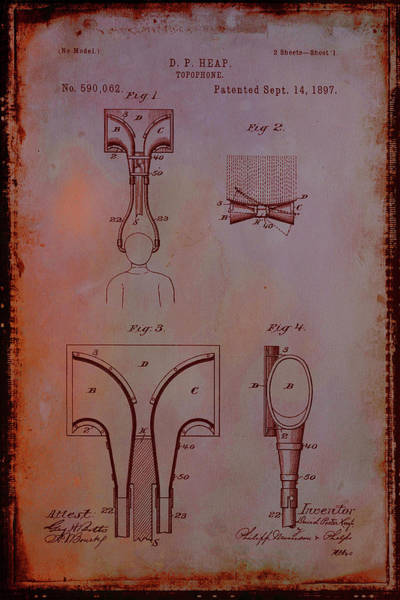 Trumpet Mixed Media - Topophone Patent Drawing 1e by Brian Reaves