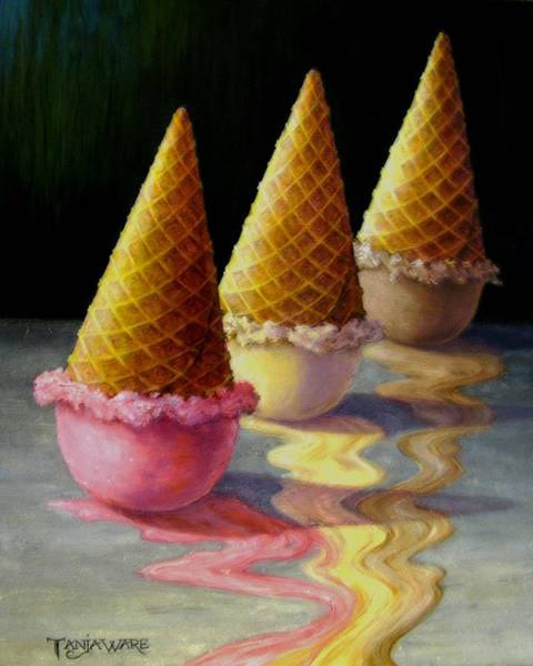 Cream Wall Art - Painting - Toppled Triple Treat by Tanja Ware