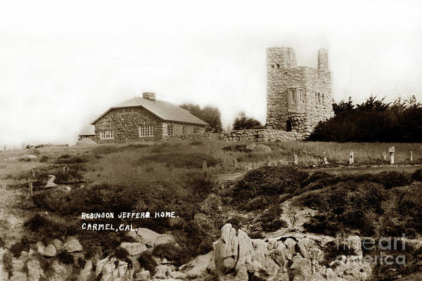 Photograph - Tor House, Hawk Tower On Carmel Point Circa 1940 by California Views Archives Mr Pat Hathaway Archives