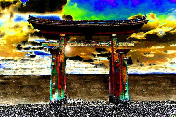 Tsunami Painting - Torii Sunrise by David Lee Thompson
