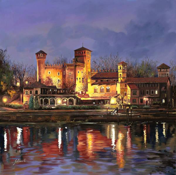 River Painting - Torino-il Borgo Medioevale Di Notte by Guido Borelli