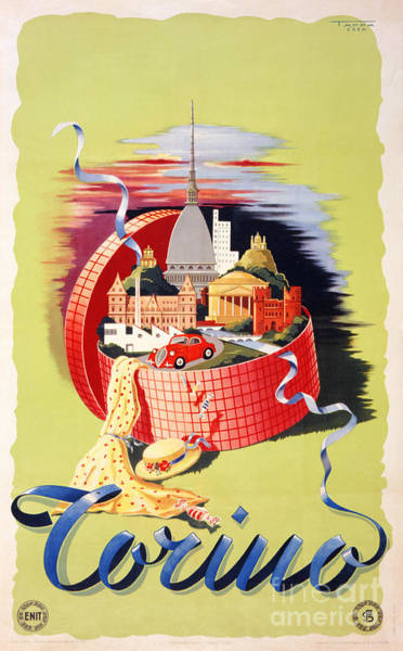 Wall Art - Painting - Torino Turin Italy Vintage Travel Poster Restored by Vintage Treasure