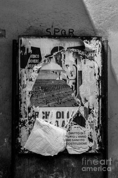 Photograph - Torn Posters Rome Italy by Edward Fielding