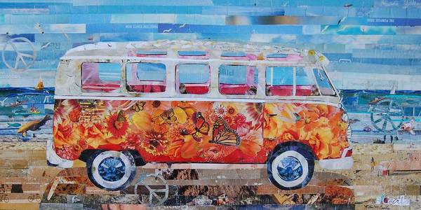Peace Sign Mixed Media - Paper Vw Bus by Robin Coats