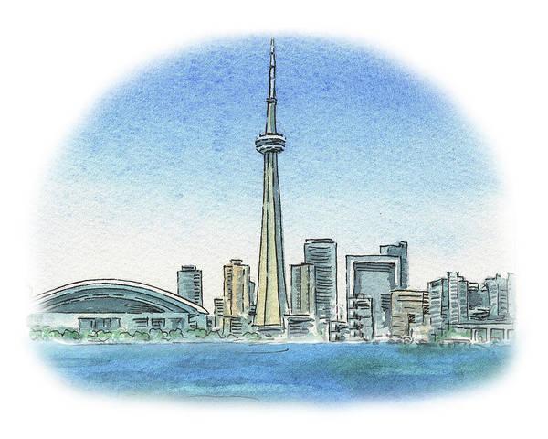 Toronto Painting - Toronto Canada City Skyline by Irina Sztukowski