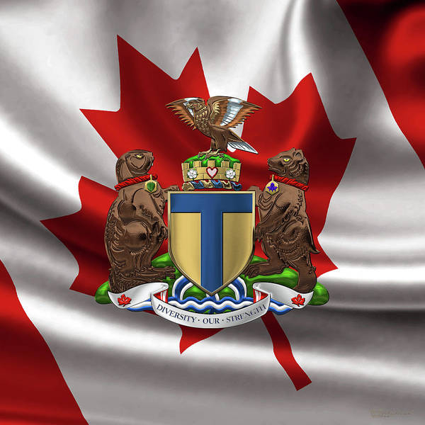 Digital Art - Toronto - Coat Of Arms Over Canadian Flag  by Serge Averbukh