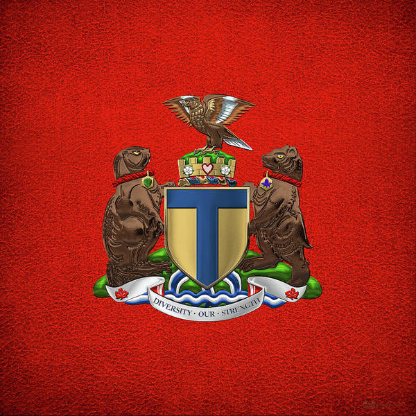 Digital Art - Toronto - Coat Of Arms Over Red Leather  by Serge Averbukh