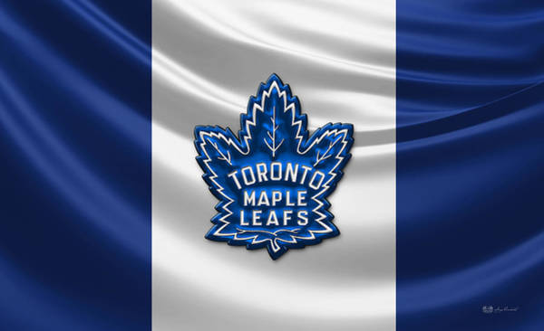 Sport Wall Art - Photograph - Toronto Maple Leafs - 3d Badge Over Flag by Serge Averbukh