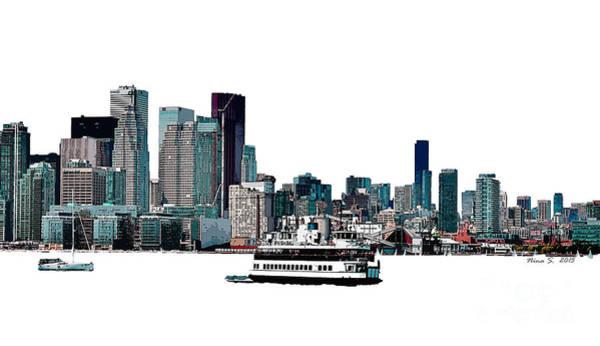 Toronto Blue Jays Photograph - Toronto Portlands Skyline With Island Ferry by Nina Silver