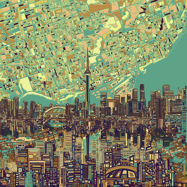 Toronto Painting - Toronto Skyline Abstract 7 by Bekim M