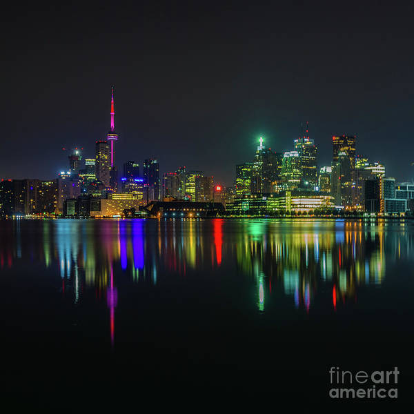 Photograph - Toronto Skyline At Night 6 by Roger Monahan