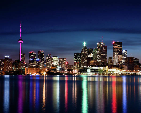 Photograph - Toronto Skyline At Night From Polson St No 2 by Brian Carson