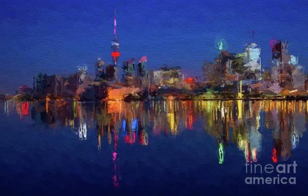 Cn Tower Wall Art - Painting - Toronto Skyline by Mary Bassett