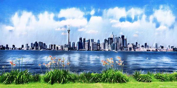 Swan Boats Digital Art - Toronto Skyline by Pennie McCracken