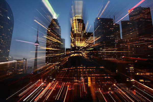 Photograph - Toronto Skyline Streaks by Steve Somerville
