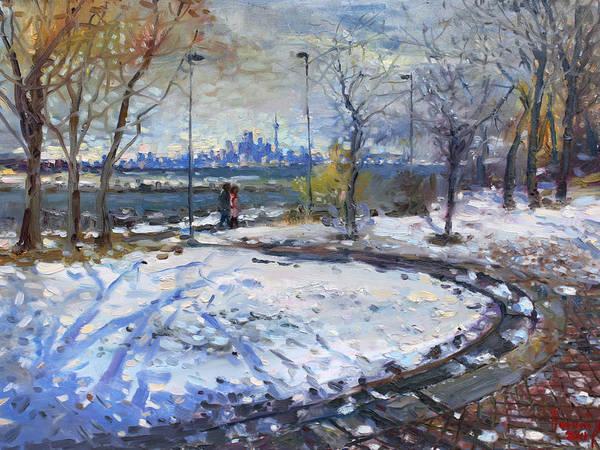 Lake Painting - Toronto Skyline by Ylli Haruni