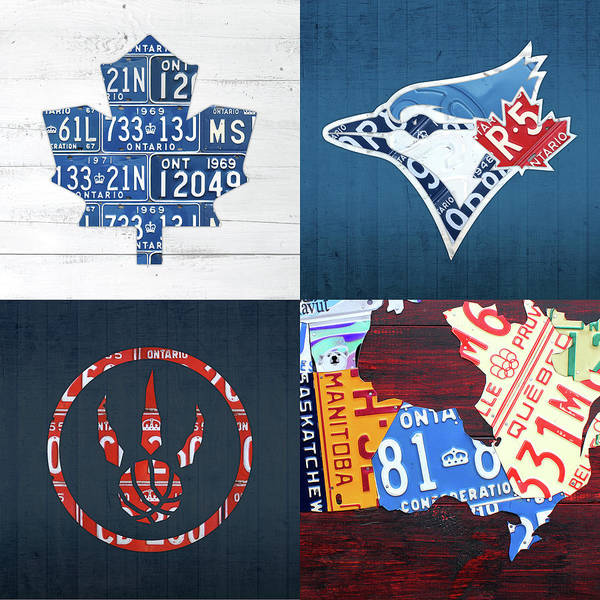 Ontario Mixed Media - Toronto Sports Team License Plate Art Ontario Map Blue Jays Maple Leafs Raptors by Design Turnpike