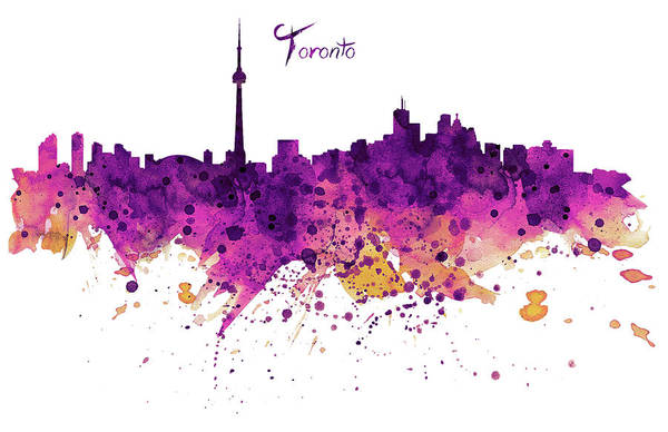 Watercolour Mixed Media - Toronto Watercolor Skyline by Marian Voicu