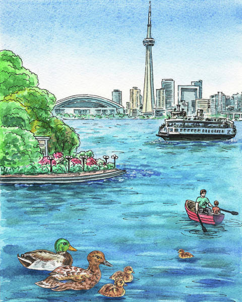 Toronto Painting - Toronto Waterfront And City Skyline by Irina Sztukowski