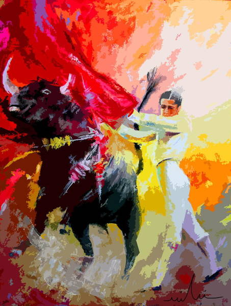 Torero Wall Art - Painting - Toroscape 41 by Miki De Goodaboom