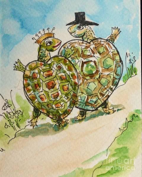 Drawing - Tortoises In Love by Asha Sudhaker Shenoy