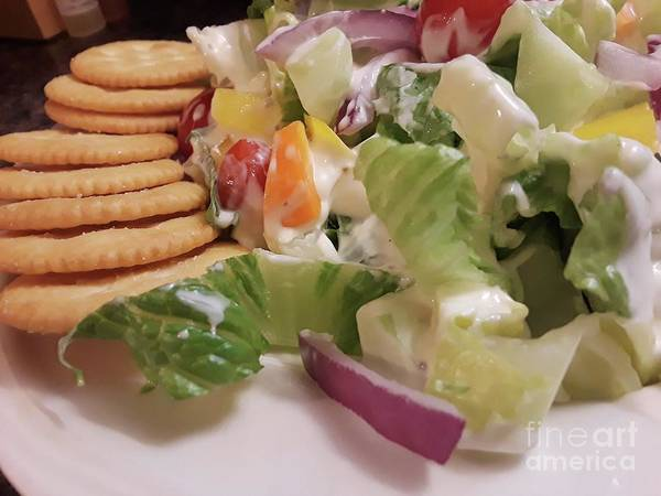 Salad Dressing Photograph - Tossed Salad With Ritz Crackers 2 by Maxine Billings