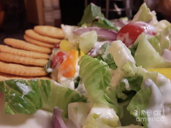 Salad Dressing Photograph - Tossed Salad With Ritz Crackers by Maxine Billings