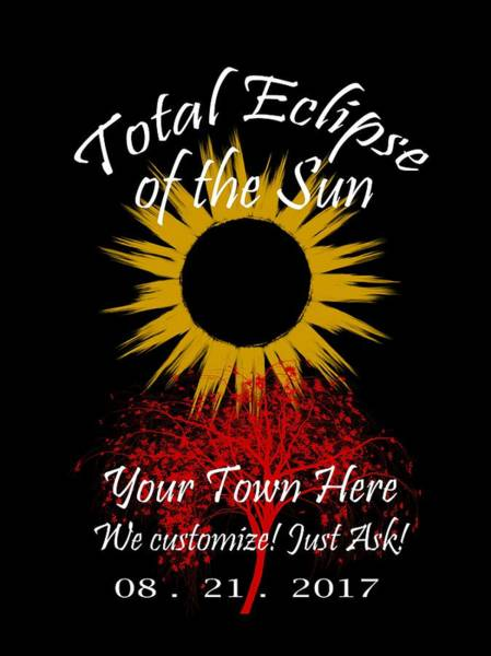 Digital Art - Total Eclipse Art For T Shirts Sun And Tree On Black by Debra and Dave Vanderlaan