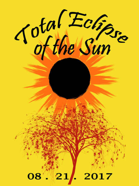Photograph - Total Eclipse Art Sun And Tree On Yellow by Debra and Dave Vanderlaan