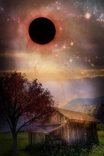 Photograph - Total Eclipse Of The Sun Barn Art by Debra and Dave Vanderlaan