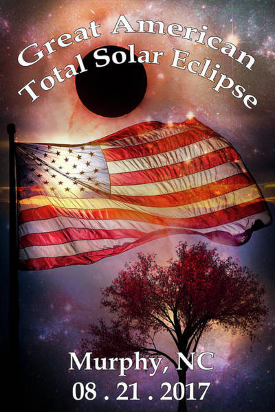 Photograph - Total Eclipse Of The Sun Flag Tree Art by Debra and Dave Vanderlaan