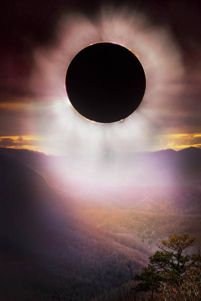 Photograph - Total Eclipse Smoky Mountains by Debra and Dave Vanderlaan