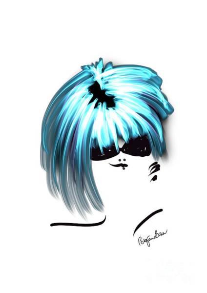 Hairdo Digital Art - Totally Cool In Turquoise  by Peta Brown