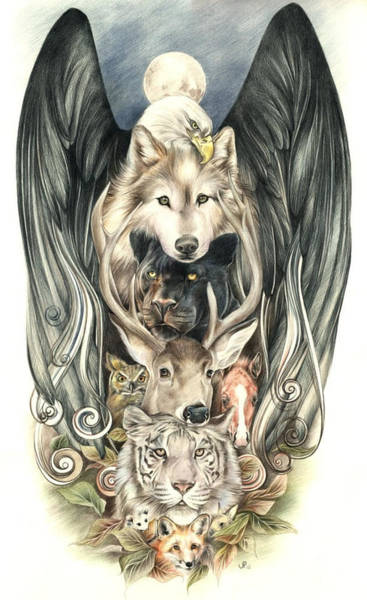 Coloured Pencil Drawing - Totem by Johanna Pieterman