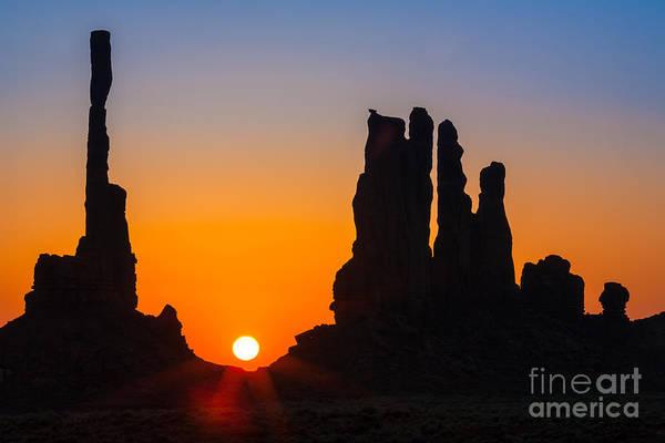Native America Photograph - Totem Poles Sunrise by Inge Johnsson