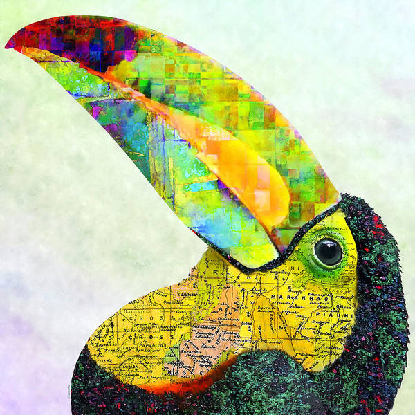 Bird Watercolor Mixed Media - Toucan  by Stacey Chiew