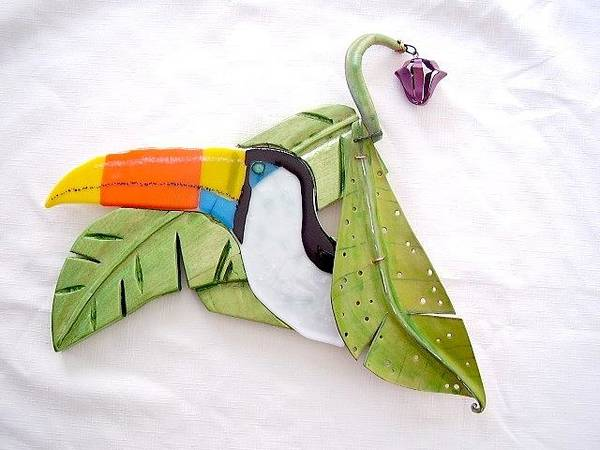 Banana Leaf Mixed Media - Toucan Wall Art In Glass Carved Wood And Leather by Michele Palenik