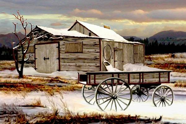 Barn Snow Painting - Touch Of Spring by Ron and Ronda Chambers