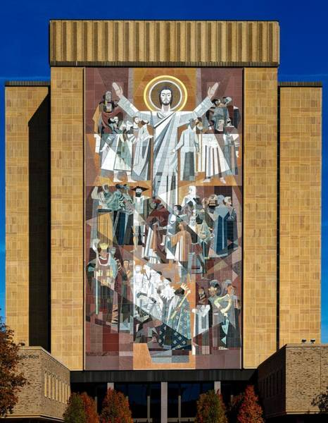 Mosaic Photograph - Touchdown Jesus - Hesburgh Library by Mountain Dreams