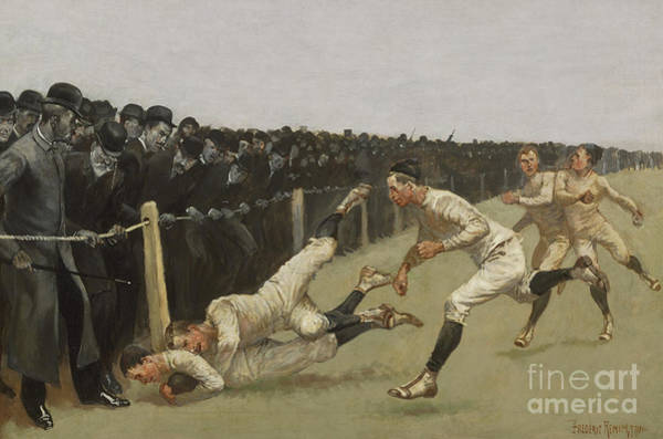 Victorian Era Painting - Touchdown, Yale Vs. Princeton, Thanksgiving Day, Nov 27th 1890 by Frederic Remington