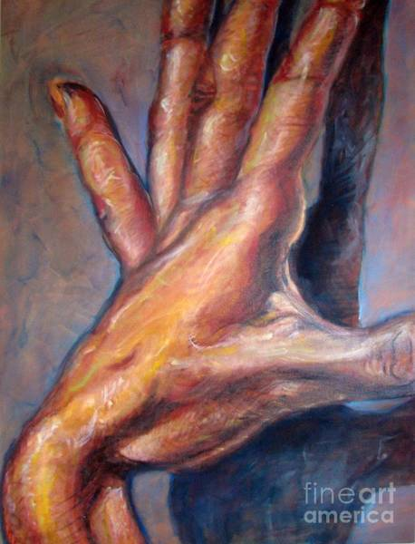 Thumb Painting - Touching My Shadow by Iglika Milcheva-Godfrey