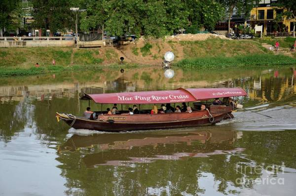 Photograph - Tour Cruise Boat With Tourists On Mae Ping River Chiang Mai Thailand by Imran Ahmed