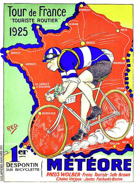 Wall Art - Painting - Tour De France, Race, Bicycling, Vintage Travel Poster by Long Shot