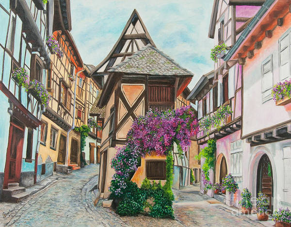 Half Timbered Painting - Touring In Eguisheim by Charlotte Blanchard