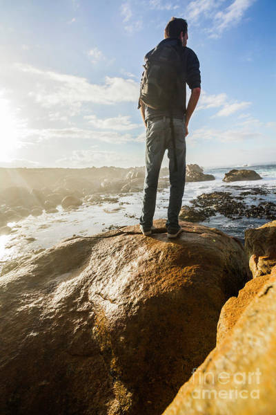 Guy Photograph - Tourist Looking At The Ocean by Jorgo Photography - Wall Art Gallery