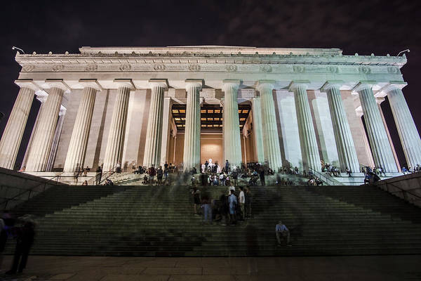 Photograph - Tourist Milling About The Lincoln Memorial One Night  by Sven Brogren