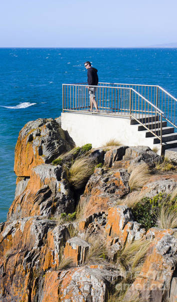 Devonport Wall Art - Photograph - Tourist Standing On The Mersey Bluff Rock Lookout by Jorgo Photography - Wall Art Gallery