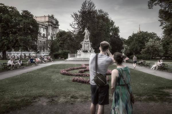 Photograph - Tourists At Mozart Memorial by Roberto Pagani